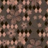 Flores y Rhombus abstractos exhaustos del ranúnculo de la mano en fondo marrón ilustración del vector