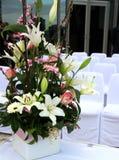 Flores y sillas de la boda Imagen de archivo libre de regalías