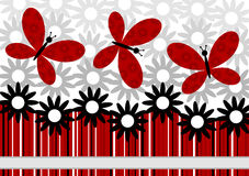 Flores y tarjeta de felicitación roja de las mariposas ilustración del vector