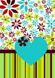 Flores y tarjeta del amor del corazón Imagen de archivo libre de regalías