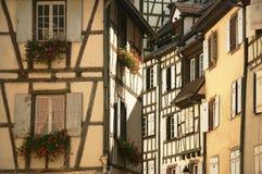 Flores y ventanas en la ciudad de Colmar Francia Fotografía de archivo libre de regalías