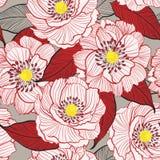 Florescência botânica em uma linha SE floral branco do desenho da mão do jardim ilustração stock