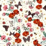 A florescência retro bonita floresce com inseto, abelhas, borboleta, senhora ilustração do vetor