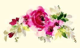 Floresce a ilustração da aquarela Fotografia de Stock