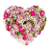 Floresce o conceito floral da colagem do coração Imagens de Stock Royalty Free