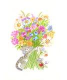 Floresce o gato Imagem de Stock Royalty Free