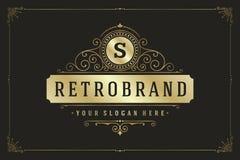 Floresce o molde caligráfico do emblema do monograma Imagem de Stock Royalty Free
