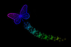 Florescent Colorful Butterflies. Isolated on a black background Stock Illustration