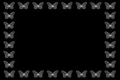 Florescent White Butterfly Border. Florescent white butterflies on a black background Vector Illustration