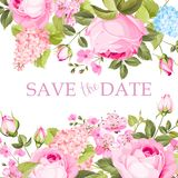Florescer aumentou ramo na parte superior do cartão do convite isolada sobre o lugar branco do fundo e do texto Texto das felicit ilustração stock