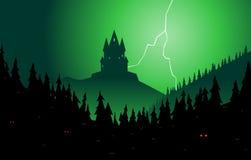 Floresta assustador e castelo Foto de Stock Royalty Free