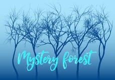 Floresta azul do mistério, árvores do vetor ilustração do vetor