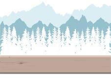 Floresta coberto de neve e montanhas ilustração royalty free