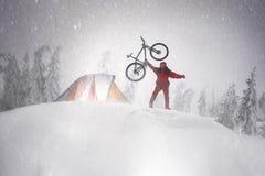 Floresta coberto de neve em uma tempestade Imagens de Stock