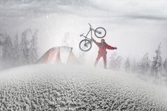 Floresta coberto de neve em uma tempestade Fotografia de Stock Royalty Free