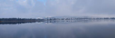 Floresta da árvore do inverno da neve do lago panorama Fotos de Stock