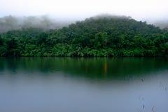 A floresta da montanha com o rio da névoa e do kwai ajardina na chuva no ka Fotos de Stock Royalty Free