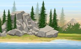 Floresta da montanha e do abeto vermelho na costa de um grande lago ou rio ilustração do vetor