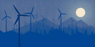 Floresta da noite das energias eólicas dos moinhos de vento e a paisagem grande do papel de parede da Lua cheia das montanhas ao  imagem de stock