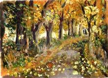 Floresta da pintura a óleo Fotos de Stock