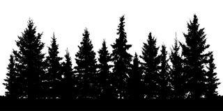 Floresta da silhueta dos abeto do Natal Abeto vermelho conífero ilustração do vetor