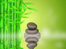 Floresta de bambu com fundo dos seixos do zen ilustração royalty free