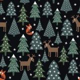 Floresta do estilo do desenho da criança e ilustração dos animais selvagens Fotografia de Stock