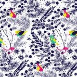 Floresta do inverno com teste padrão dos pássaros Imagens de Stock Royalty Free