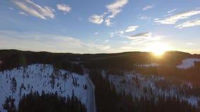 Floresta do inverno da estrada do alvorecer do nascer do sol filme