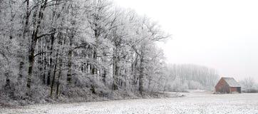 Floresta do inverno e cabana velha Fotos de Stock Royalty Free