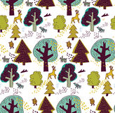 Floresta do inverno e teste padrão sem emenda animal Fotografia de Stock Royalty Free