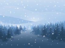 Floresta do inverno na noite queda de neve no ar abetos vermelhos na montanha Projeto do vetor Imagens de Stock Royalty Free