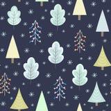 Floresta do inverno no teste padrão sem emenda da noite Fotos de Stock