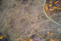 Floresta do outono com uma estrada Tiro da alta altitude de um zangão fotografia de stock royalty free