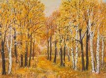 Floresta do outono, folhas alaranjadas Pintura a óleo original na lona imagens de stock royalty free