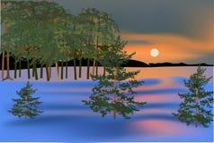 Floresta do pinho na paisagem do inverno ilustração do vetor