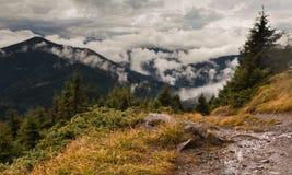 Floresta e montanhas Carpathian nas nuvens imagens de stock royalty free