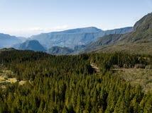 Floresta e montanhas em uma ilha imagem de stock