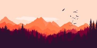 Floresta e montanhas fundo, paisagem, forma ilustração stock