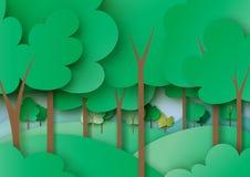 A floresta e a natureza verdes ajardinam o estilo da arte do papel de fundo ilustração do vetor