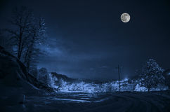 Floresta em um prado completamente da neve nas montanhas altas com partes superiores nevado na noite na luz de Lua cheia azerbaij Imagens de Stock