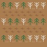 Floresta estilizado do inverno com conífero e árvores de folhas mortas em um fundo bege Fotos de Stock Royalty Free