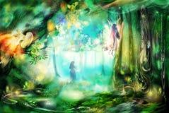 A floresta mágica com fadas ilustração royalty free