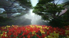 Floresta mágica com tulipas coloridas, sol que shinning através das árvores ilustração royalty free