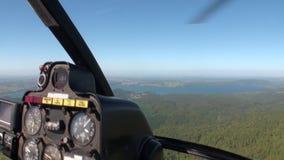 Floresta na paisagem do fromcockpit da opinião do rio do helicóptero em Nova Zelândia video estoque