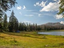 Floresta nacional do Uinta-Wasatch-esconderijo, lago mirror, Utá, Estados Unidos, América, perto do lago slat e do Park City foto de stock