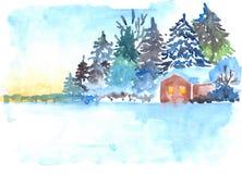 A floresta nevado e a casa da madeira de pinho do inverno ajardinam Imagem de Stock