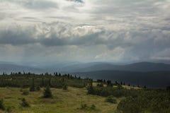 Floresta no ¡ e de KrkonoÅ antes de uma tempestade Fotografia de Stock Royalty Free