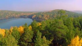 Floresta no lago da queda na opinião do outono do céu Reflexões do lago da folhagem de outono Folha colorida aérea do outono video estoque