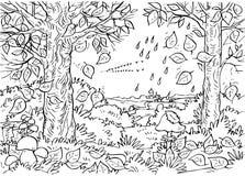 Floresta no outono ilustração royalty free